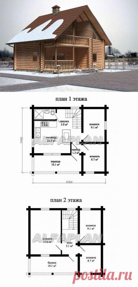 Дачный дом для небольшой семьи (B-011), Alfaplan.ru