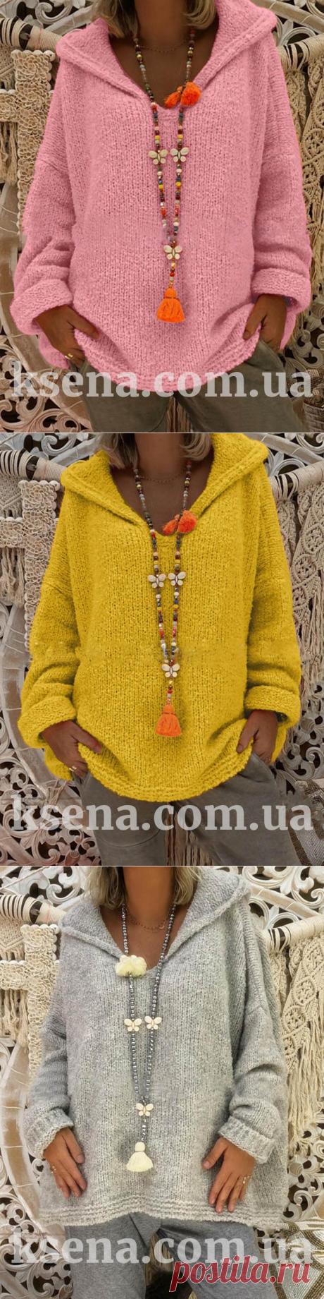 Вязаная толстовка свободного кроя - Вязаные свитера и пуловеры крючком - Женские пуловеры - Ksena