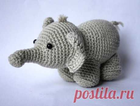 Scheme of knitting of an elephant of an amiguruma