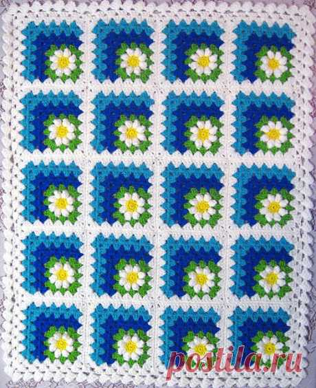 Плед крючком квадратным мотивом - Crochet.Modnoe Vyazanie ru.rom