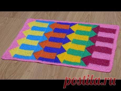 """Коврик крючком """"Цветные стрелки"""" из полипропиленовой пряжи. Часть 1. Crochet mat. Part 1."""