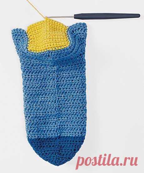 Как вязать носки крючком - схема вязания крючком. Вяжем Техника вязания на Verena.ru