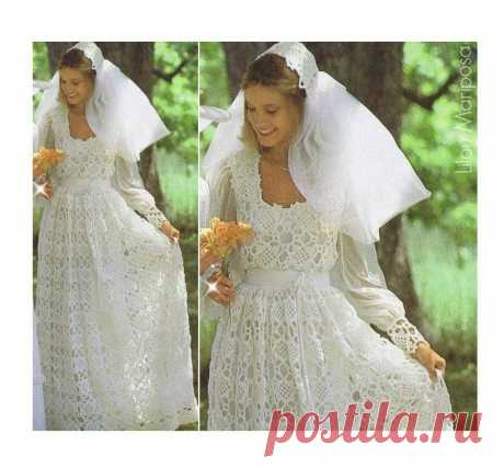 Crochet WEDDING DRESS PATTERN Vintage 70s and Crochet Wedding | Etsy