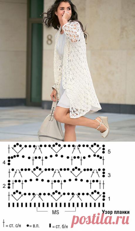 Белый кардиган узором Кружевные цепочки крючком – схема вязания с описанием