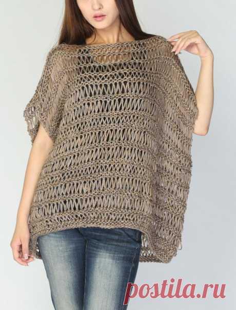 Hand Knit loose sweater cotton Tunic woman sweater Mocha   Etsy