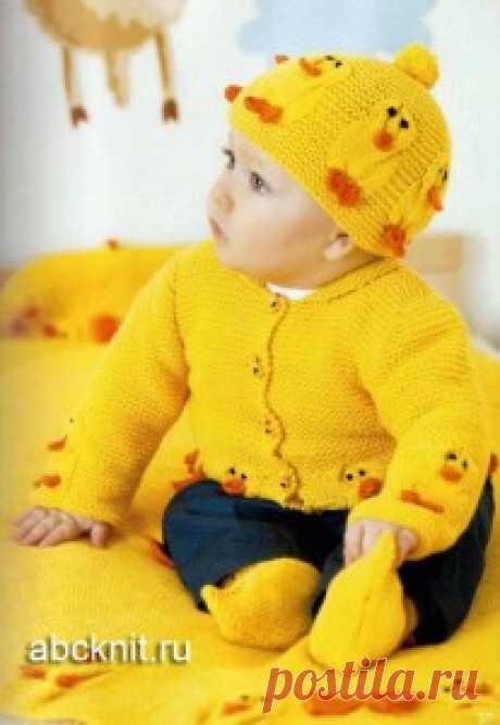 Набор: кофточка, шапка, пинетки и плед | Вязание спицами и крючком – Азбука вязания