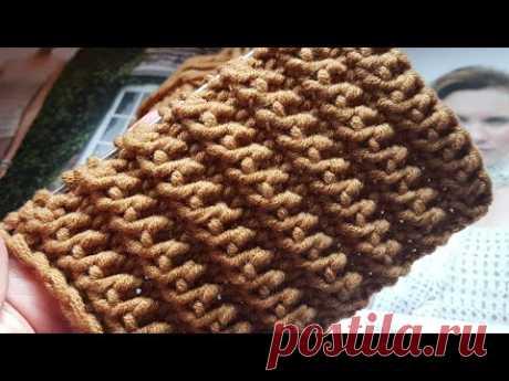 Потрясающей красоты рельефная резинка спицами 👸 knitting pattern.