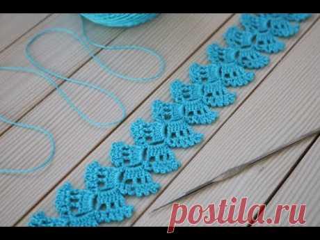 ЛЕНТОЧНОЕ КРУЖЕВО вязание крючком для начинающих Ribbon Lace Crochet