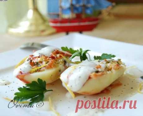 Картофель фаршированный брынзой и яйцами . - пошаговый рецепт с фото