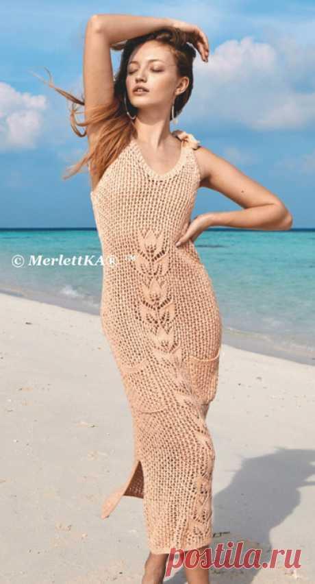 Вяжем спицами на лето - Сетчатое платье сажурным мотивом
