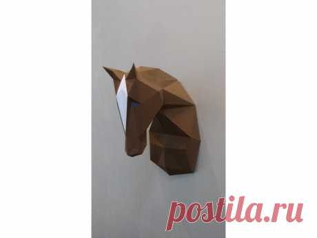 Horse Papercraft by turbi I draw this papercraft horse with sketchup. With the stl I have printed one model with a form2 With the stl Pepakura software gave me an plane version of the horse head. I upload the PDF plan version Printed on A3 160g/m² it give a 40cm hight horse head. Can be printed on A4 for a smaller model. About 10 hours to print , cut and glue the head.