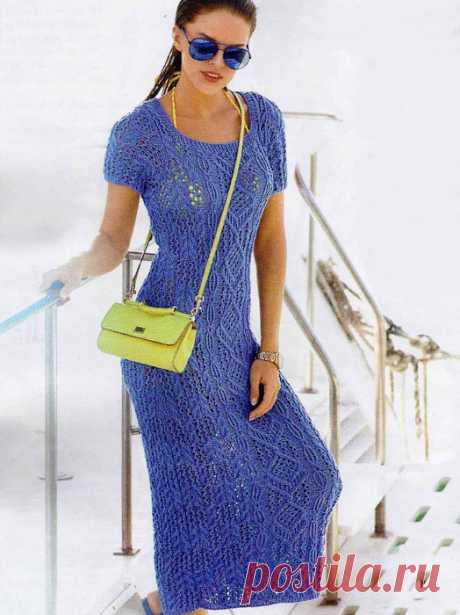 Платья вязанные спицами со схемами. Вязаное летнее платье спицами. |