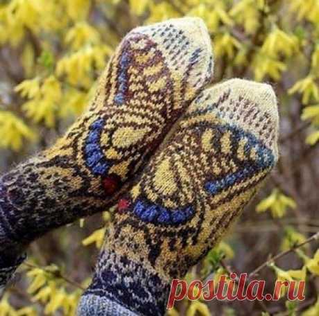 Варежки с узором бабочка
