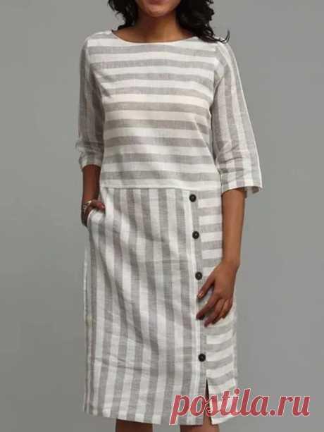 Women Stripe Patchwork Round Neck Pocket Button Half Sleeve Midi Dresses - US$22.99