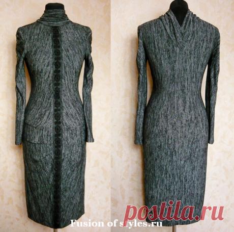 Моделирование трикотажного платья с оригинальным воротником   СЛИЯНИЕ СТИЛЕЙ