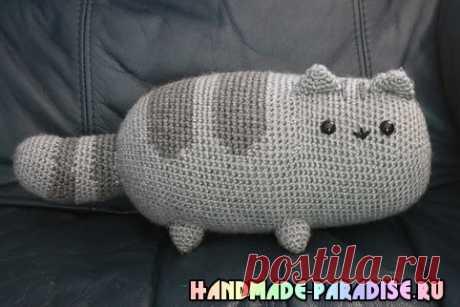 Подушка - игрушка КОШКА крючком - Handmade-Paradise