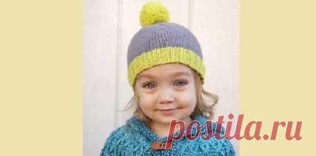 Детская шапка лицевой гладью — простая и красивая схема Хотите узнать, как связать детскую шапку для девочки или мальчика лицевыми петлями? Пошаговая схема вязания. Ярко и просто!