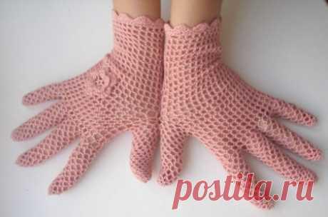 Ажурные перчатки для девочки крючком