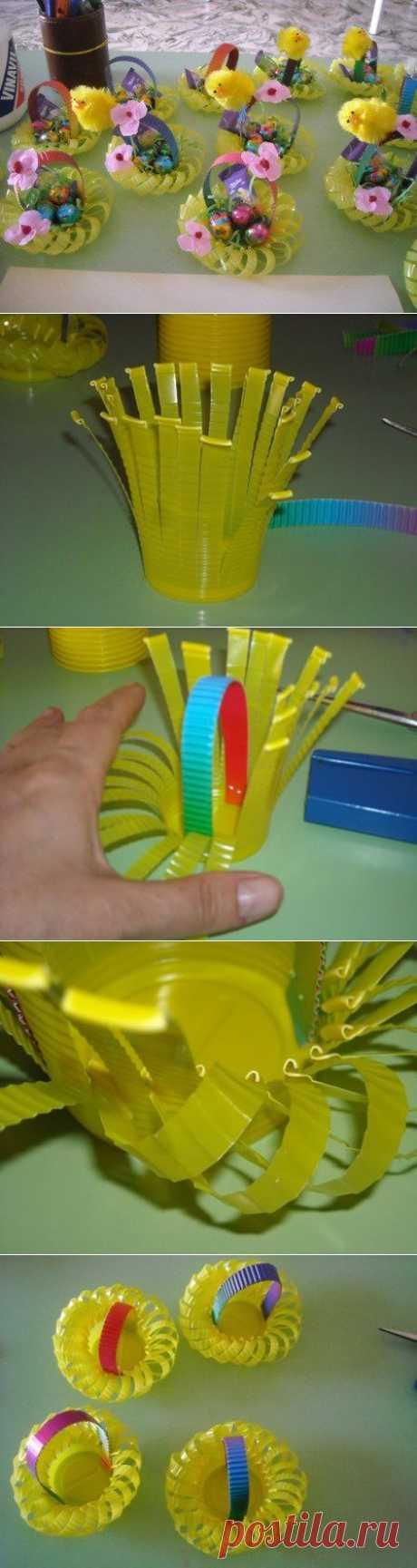 Пасхальные корзинки из пластиковых стаканчиков | Конфетный рай