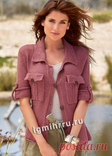 Жакет с короткими рукавами и накладными карманами. Вязание спицами со схемами и описанием