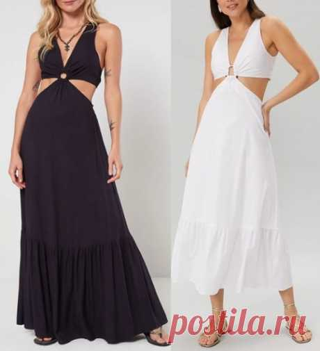 Vestido longo com argola e babado Esquema de modelagem de vestido longo com argola e babado do tamanho 36 ao 56.