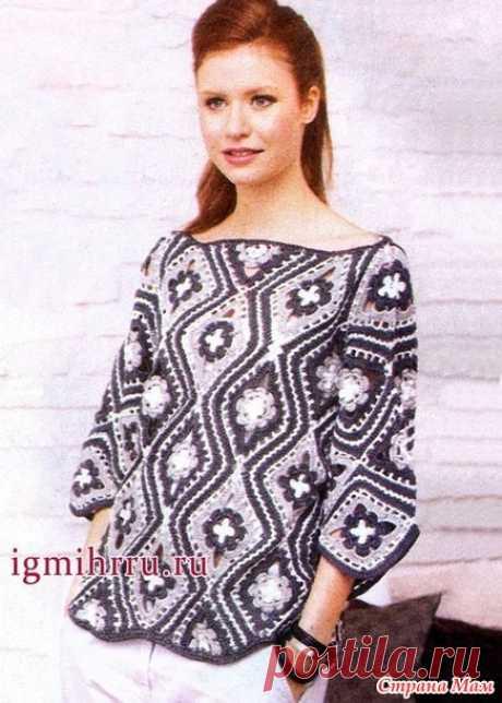 Пуловер из ромбов с цветочным узором - Все в ажуре... (вязание крючком) - Страна Мам