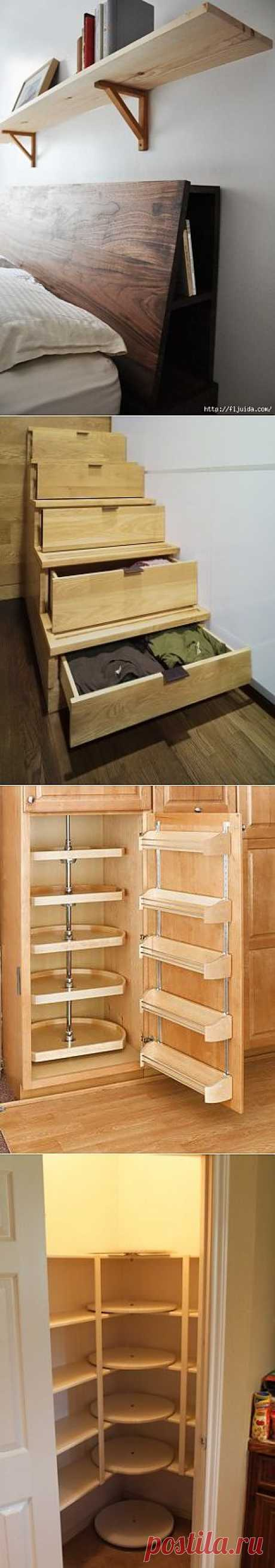 Ideas of convenient places for storage in an interior.