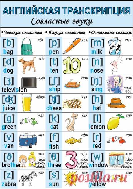 Знаки английской транскрипции. Согласные звуки. | KidsTime