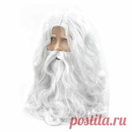 Новый год Делюкс Белый Санта маскарадный костюм парик волшебника и борода комплект Рождество Хэллоуин купить на AliExpress