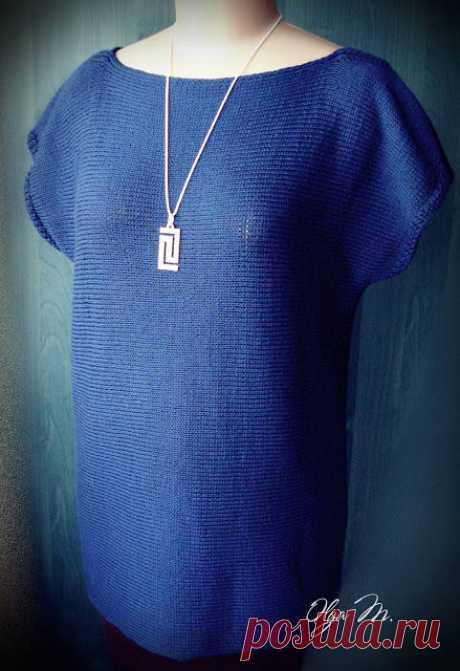 Туника свободного облегания (Вязание спицами) Связана туника из итальянской бобинной пряжи (50% меринос, 50% акрил, в 100 г 1400 м) и хлопка (в 100 г 1600 м). Вязала ниточкой в 5 (пять) сложений – 3 нити мериноса, 2 нити хлопка – с…