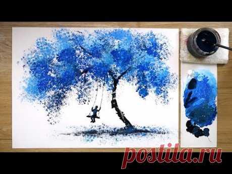 Техника росписи акриловыми красками с использованием пузырчатой пленки - «Голубое небо»