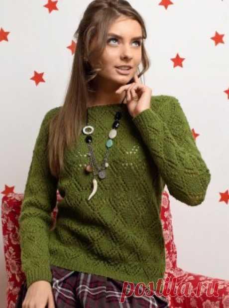 Вязание крючком и спицами - Пуловер узором из ажурных ромбов