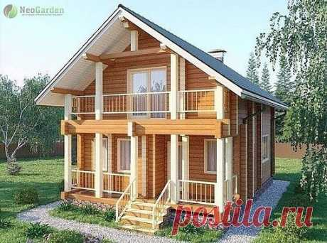 Проект загородного дома с баней из бруса  Площадь 11 0м2.  Размер 9,8 х 6,8 м.