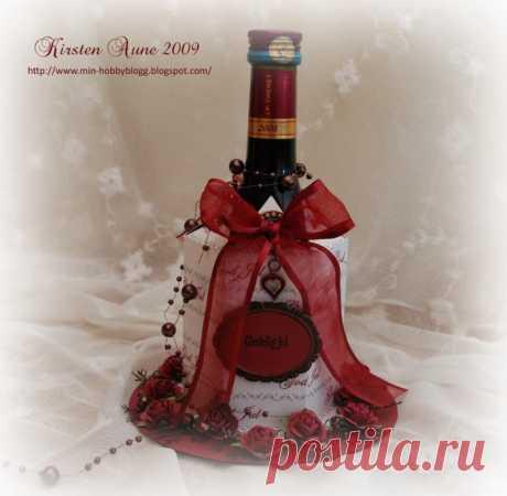 Подарочная упаковка для бутылки. Скрапбукинг