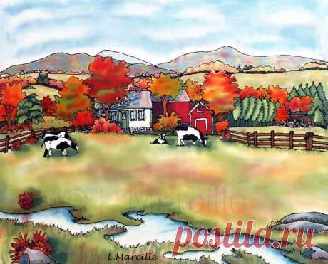 Искусство на шелке и бумаге - Осеннее пастбище