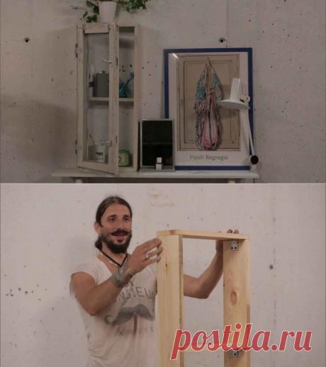 Шкафчик из оконной рамы