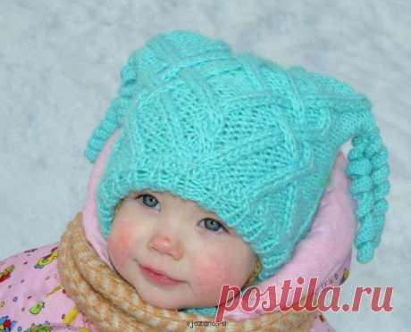 Шапка для девочки спицами на возраст 1-3 года | Вязана.ru