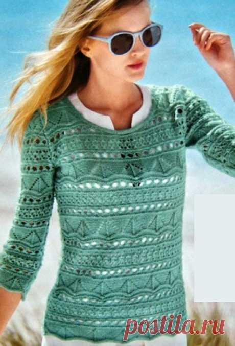 """Очаровательный ажурный пуловер Как связать ажурный пуловерЭтот замечательный пуловер связан ажурным узором из пряжи цвета мяты. Пуловер связан несколькими узорами: узор """"треугольники"""" по схеме А и ажур по схеме В. Пуловер отлично подойдет для первой весеннего тепла..."""