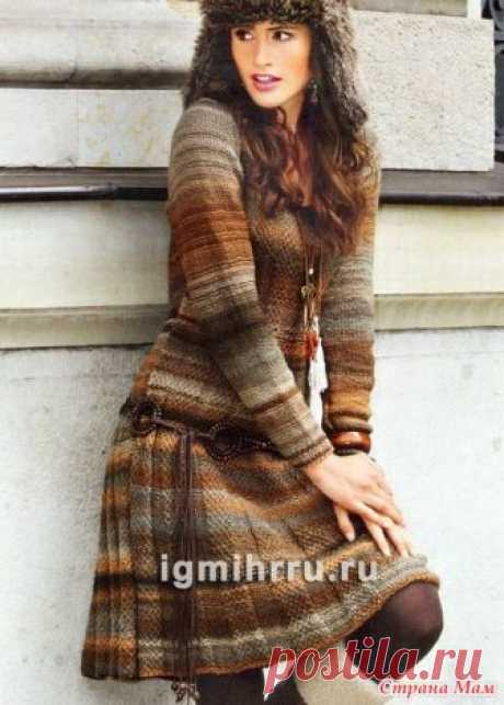 Повседневное платье из мелированной пряжи с расклешенным низом - Вязание спицами - Страна Мам