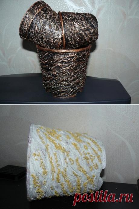 Декор кашпо пшеном