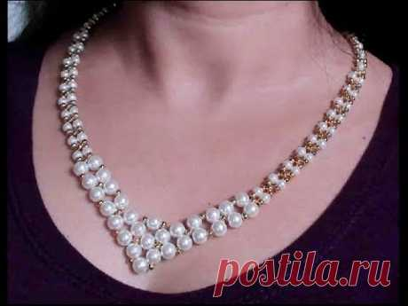 How to make a beautiful and easy pearl necklace - Mother's day gift