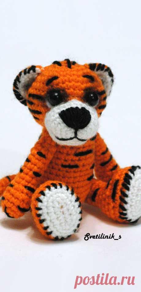PDF Тигр крючком. FREE crochet pattern; Аmigurumi animal patterns. Амигуруми схемы и описания на русском. Вязаные игрушки и поделки своими руками #amimore - тигр, тигренок, котик, кот, кошечка, кошка, котенок.