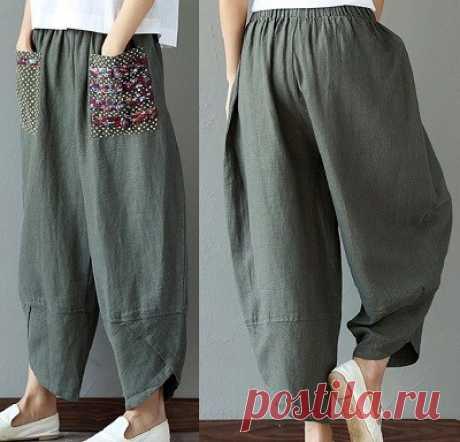 Мешковатые брюки с резинкой.Схемы.