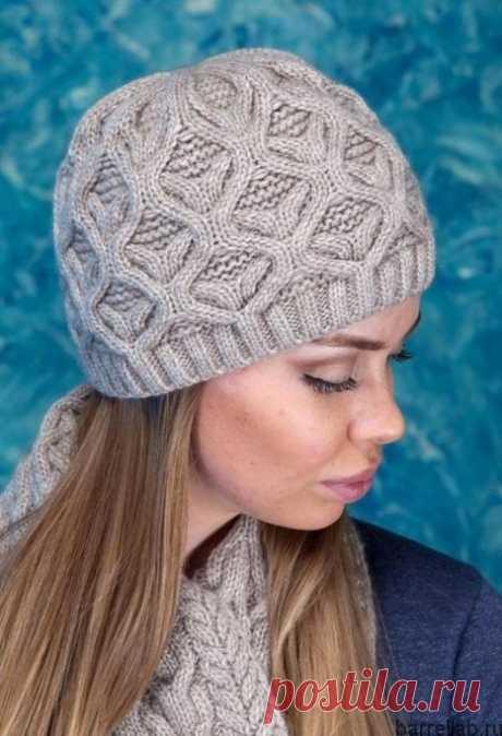 Зимняя шапочка спицами. Серая женская ажурная спицами | Вязание для всей семьи