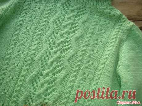 . A woolen jacket (polo-neck) with openwork the rehouse, executed by spokes - Knitting - the Country of Mothers