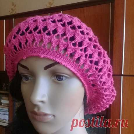 knitted hat knitted crochet,a cap,summer accessory,for women,beret The beret is crocheted with an openwork pattern made of cotton with viscose.pink handsome crochet beret, summer accessory, sun protection, for walks and trips to the sea.is suitable for size, head circumference: 54 -56 centimeters,you can choose a different color and size,