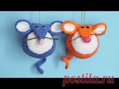 МК Мышешарик   Вязаная мышка крючком - подробное описание игрушки   Crochet Toy Mouse Tutorial - YouTube