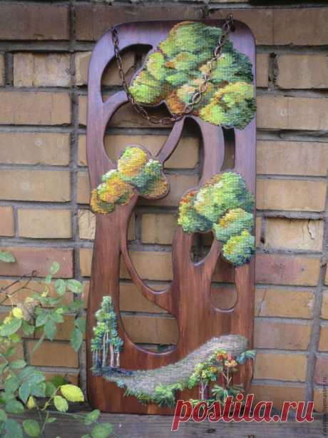"""Декоративный гобелен """" Солнечный сентябрь"""" - гобелен ручной работы, смешанная техника"""