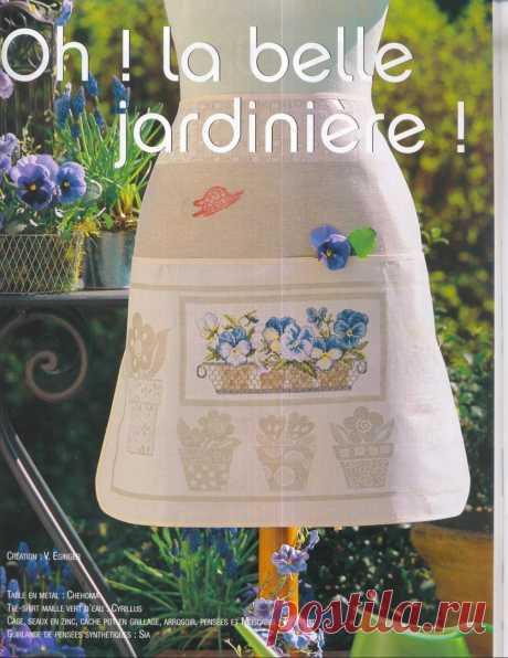 Фартук для цветочницы. Французская вышивка