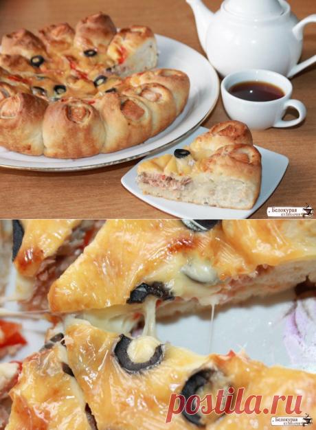 Необычный открыто-закрытый пирог с рыбой и сладким перцем — Вкусно!